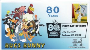 20-211, 2020, SC 5494, Bugs Bunny, First Day Cover, Pictorial Postmark, 80th Ann