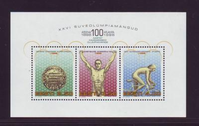 Estonia Sc 305 1996 Olympics stamp souvenir sheet mint NH