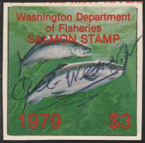 Washington Department of Fisheries Salmon Stamp (1979) Used/Signed