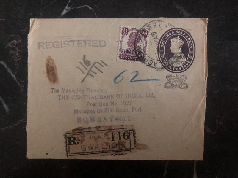 1949 Gwalior India Central Bank Registered Cover To Bombay