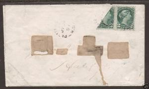 Canada SG 78b, 2c + Bisect on 1891 cover to Halifax, Cert