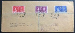 1937 Maseru Basutoland first day cover FDC Coronation King George VI To Bulawayo