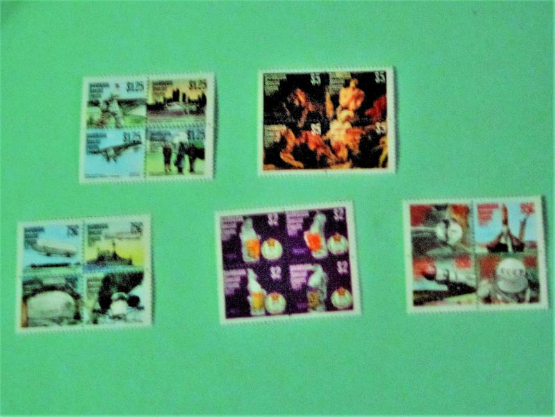 Barbuda - 318-22, MNH Sets (Blocks of 4). Anniversaries. SCV - $12.25