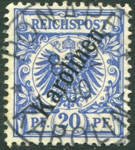 CAROLINE ISLANDS-1899-1900 20pf Ultramarine Used in Ponape Sg 10 V36328