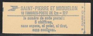 St. Pierre & Miquelon 462 MNH Unexploded Booklet of 10 cv $10
