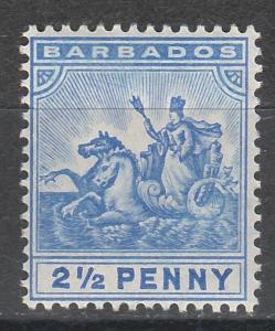 BARBADOS 1905 QV SEAHORSES 21/2D WMK MULTI CROWN CA