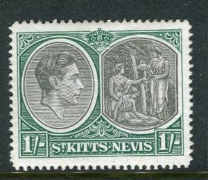 ST. KITTS; 1938 early GVI issue fine Mint hinged Shade of 1s. Perf 14 value