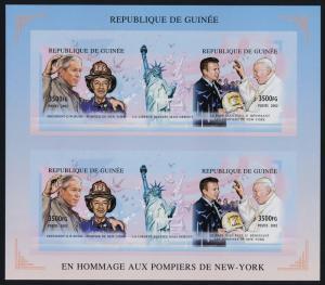 Guinea MI 3545A-B imperf Sheet MNH Pope John Paul II, President Bush