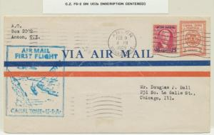 CANAL ZONE 1929, 1st FLIGHT TO USA (F5-2), 2c ENVELOPE (UC2a)+25c AIRMAIL
