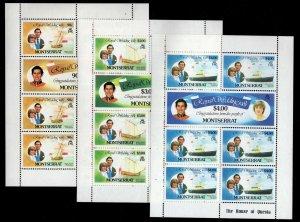 Montserrat - Sc #465-470 Mint Sheets of 7 - Princess Diana Royal Wedding -1981