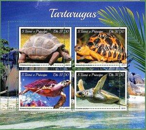 A3527-Sao Tome & Principe ERROR MISSPERF 2019 Nature Turtles sea life Черепахи