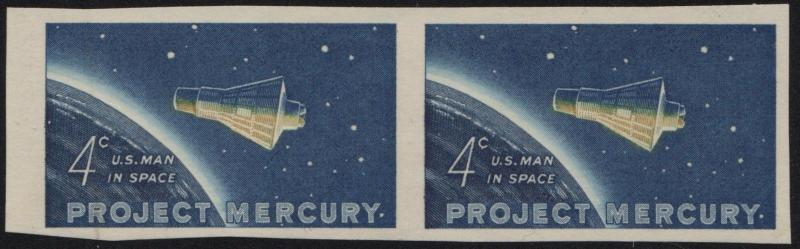 #1193 VAR. EXT RARE PROJECT MERCURY IMPERF PAIR VF OG NH MAJOR ERROR WL6274 BKEY