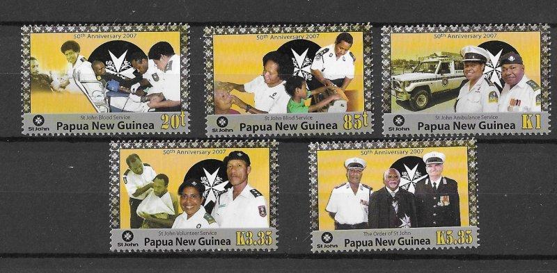 Papua New Guinea MNH 1277-81 St. Johns Ambulance 2007