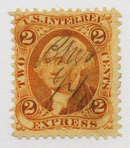 B42 U.S. Revenue Scott R10c 2-cent Express orange 1865 manuscript cancel SCV=$14