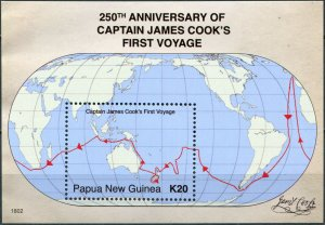 Papua New Guinea. 2018. 250th Anniv. of Capt. Cook's First Voyage (MNH OG) S/S
