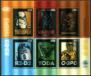HERRICKSTAMP NEW ISSUES SPAIN Sc.# 4206 Star Wars Lenticular 3-D S/S