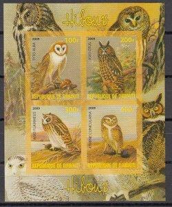 Djibouti, 2009 Cinderella item. Various Owls, IMPERF sheet of 4.