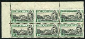 Ascension SG39 1938 1d black and green (Green Mountain Farm) Plate Block of 6