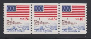 US Sc 1891 MNH. 1981 18c Flag and Anthem, Plate #1 coil strip of 3, gum skip