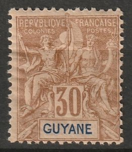 French Guiana 1892 Sc 44 MH* some disturbed gum