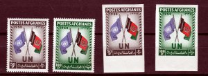 J26969 1958 afghanistan set with imperfs mnh #460-1 united nations