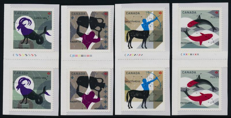 Canada 2457-60 Gutter Pairs MNH Signs of the Zodiac, Pisces, Aquarius, Capricorn