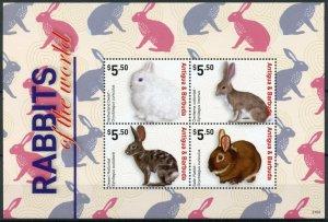 Antigua & Barbuda Domestic Animals Stamps 2021 MNH Rabbits of World 4v M/S