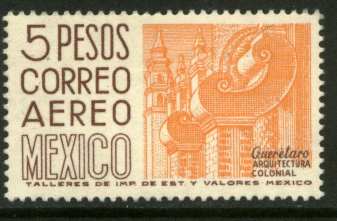 MEXICO C266 $5P 1950 Def 6th Issue Fosforescent unglazed MINT, NH. VF.