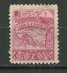 1896 Nicaragua Sc89H 2p Map MHR SCV$18.00