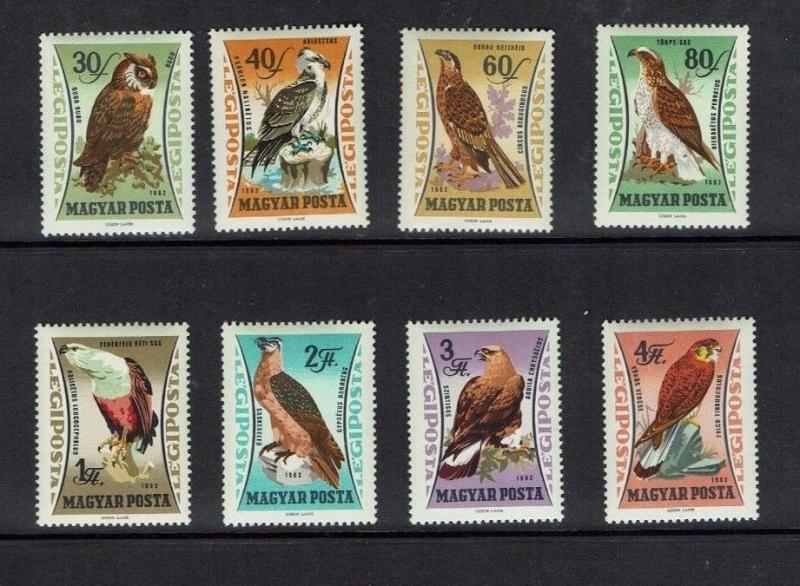Hungary: 1962 Air, Birds of Prey, MNH set