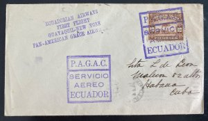 1929 Guayaquil Ecuador First flight Airmail Cover To Spanish Antilles PAGAC