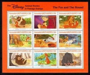 GRENADA - 1988 - DISNEY - FOX & THE HOUND - ANIMAL STORIES - MINT - MNH SHEET!
