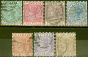 Gibraltar 1886-87 set of 7 SG8-14 Fine Used