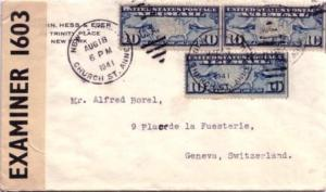 United States Early Airmail 10c Map (3) 1941 New York, N.Y. Church St. Annex ...