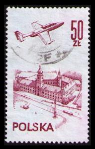POLAND 50Zt #C56 1976 PLANE OVER WARSAW CASTLE VF USED SCARCE CAT $3.50 (V510)