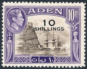 Aden 1951 10s on 10r Sepia & Violet SG46 MLH