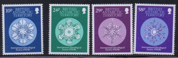 British Antarctic Territory Sc 133-6 1986 Glaciological Soc stamp set mint NH