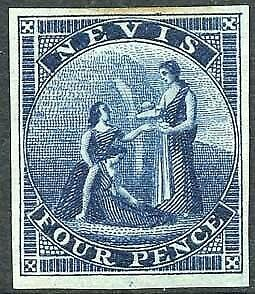 Nevis 1862 4d deep blue imperf proof on thin wove paper by Nissen and Parker