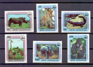Central African Empire  1978 MNH endangered animals WWF  giraffe leopard gorilla