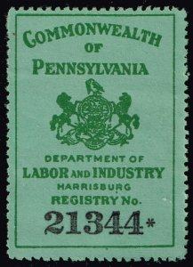 US STAMP REVENUE STATE OF PENNSYLVANIA LABOR & INDUSTRY TAX PAID STAMP