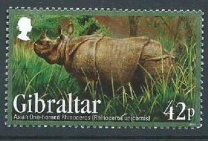 GIBRALTAR 2012 ENDANGERED ANIMALS II ASIAN ONE-HORNED RINOCEROS FINE USED