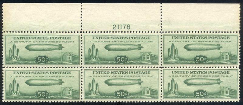 U.S. #C18 Mint VF NH Plate Block - 1933 50c Zeppelin