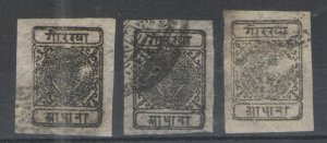 Nepal 1899-1917 Sc# 10 Used G/VG   lot of 3 examples