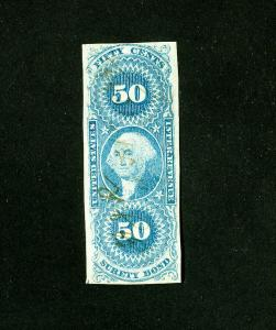 US Stamps # R63a VF light cancel Scott Value $400.00