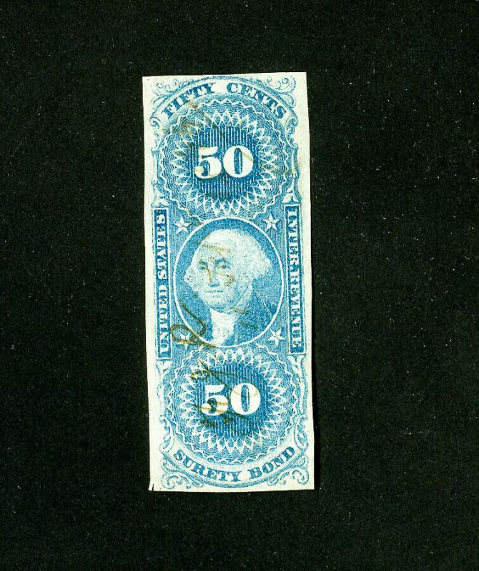 US Stamps # R63a VF light cancel Scott Value $400.00