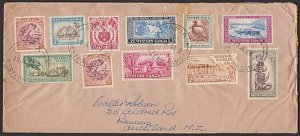 SAMOA 1954 cover with complete definitive set Apia to NZ....................J523