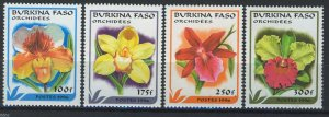 Burkina Faso 1996, Flowers, Orchids full set 4v MNH