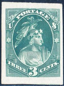 #184-E16 3¢ INDIAN MAIDEN LARGE DIE ESSAY ON INDIA PAPER WL2877