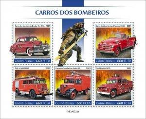 Guinea-Bissau - 2021 Fire Engine Transports - 5 Stamp Sheet - GB210222a