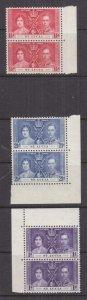 St. LUCIA, 1937 Coronation set of 3, marginal pairs, mnh.